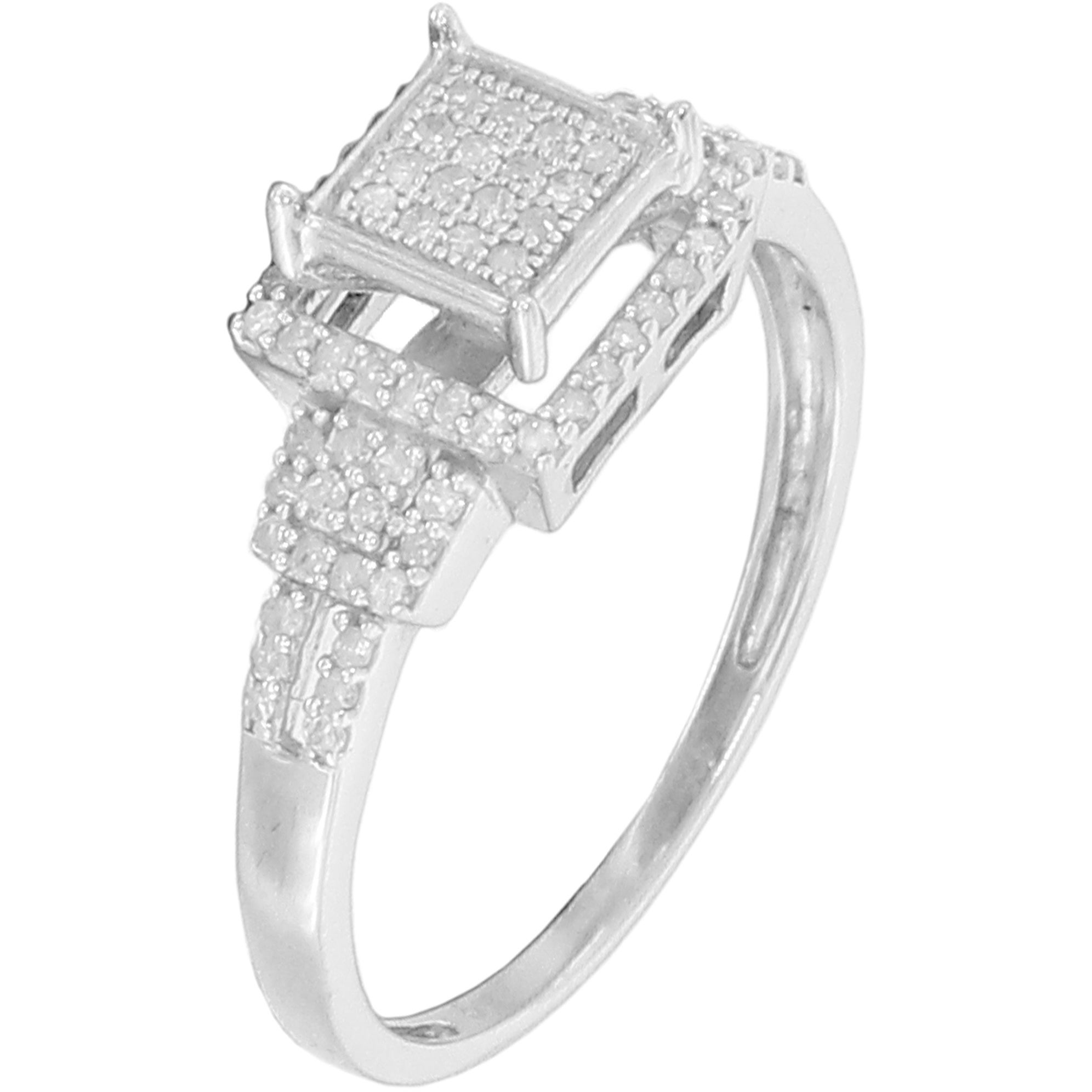 3 Diamond Promise Ring in Sterling Silver G-H,I2-I3 Size-7.25 1//20 cttw,