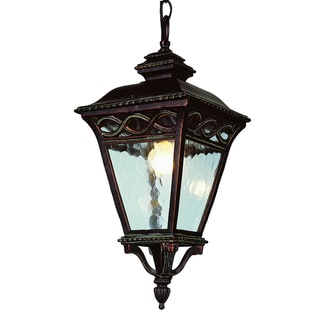 Cambridge 3-Light Burnished Bronze 34 in. Outdoor Pendant with Seeded Glass