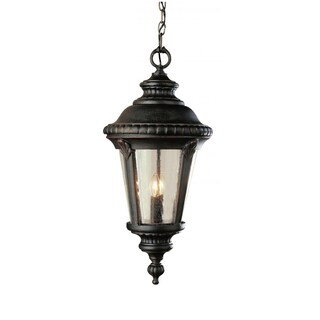 Cambridge 1-Light Black Copper 17 in. Outdoor Pendant with Seeded Glass