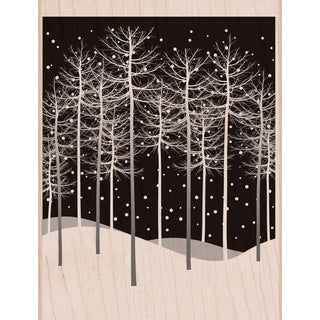 "Hero Arts Mounted Rubber Stamp 4.25""X3.25""-Winter Trees Scene"