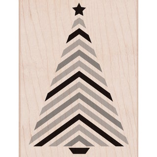 """Hero Arts Mounted Rubber Stamp 4.25""""X3.25""""-Striped Tree W/Star"""