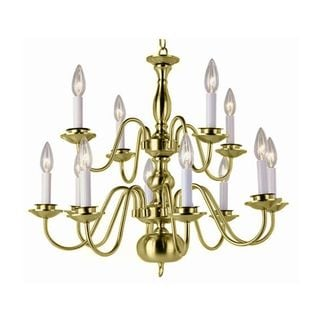 Cambridge 12-Light Polished Brass 26.25 in. Chandelier