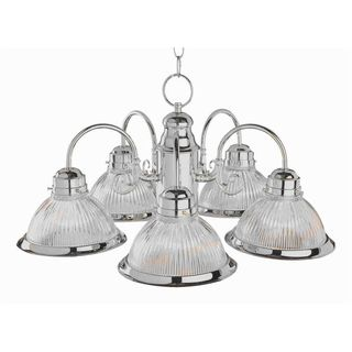 Cambridge 5-Light Brushed Nickel 23 in. Chandelier with Frosted Glass