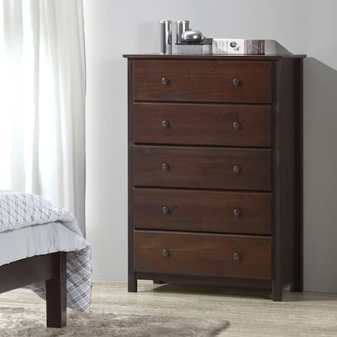 Grain Wood Furniture Shaker Solid Wood Cherry Finish 5-drawer Chest