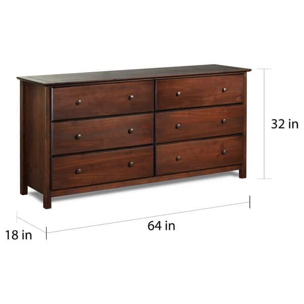 Grain Wood Furniture Shaker 6 Drawer Dresser Solid