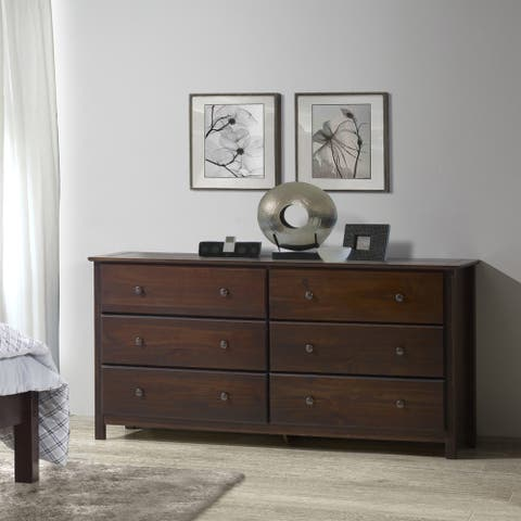 Grain Wood Furniture Shaker 6-drawer Dresser Solid Wood Cherry Finish