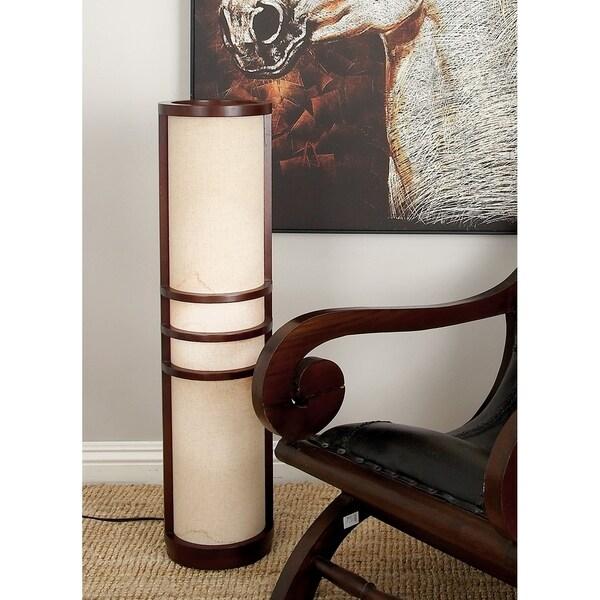 Modern 36 Inch Lantern-Style Wooden Uplight Floor Lamp by Studio 350