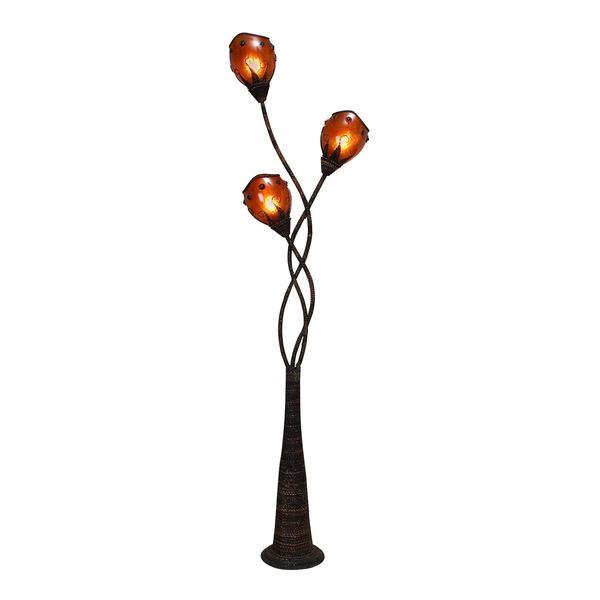 Metal and Abaca Decorative Floor Lamp