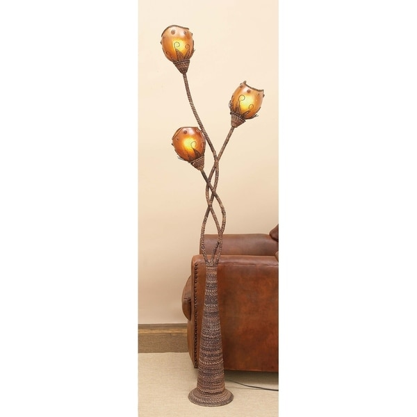 Modern 70 x 18 Inch Iron and Abaca Decorative Floor Lamp by Studio 350