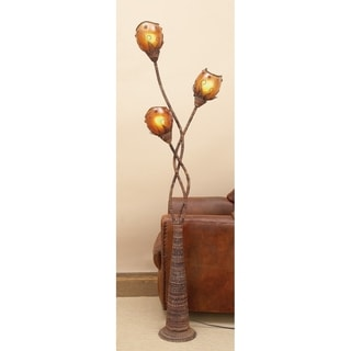 Metal and Abaca Decorative Floor Lamp