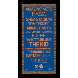 New York Mets Subway Sign 9.5x19 Frame w/ auth Dirt from Citi Field.