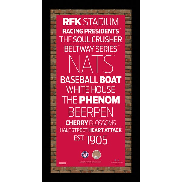 Washington Nationals Subway Sign Wall Art 9.5x19 Frame w/ Authentic Dirt from Nationals Park
