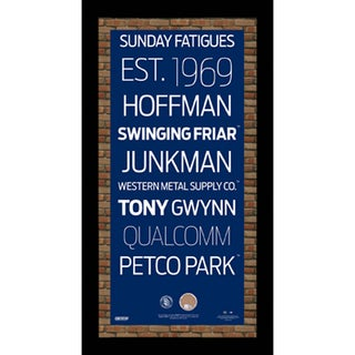 San Diego Padres Subway Sign Wall Art 9.5x19 Frame w/ Authentic Dirt from Petco Park.