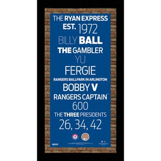 Texas Rangers Subway Sign 9.5x19 Frame w/auth Dirt from Rangers Ballpark