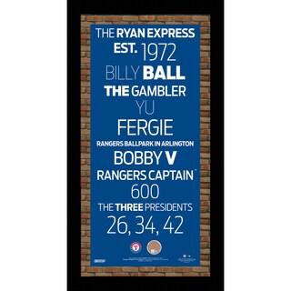 Texas Rangers Subway Sign 9.5x19 Frame w/auth Dirt from Rangers Ballpark