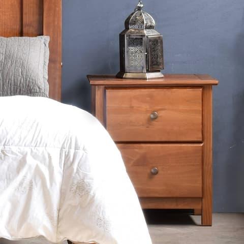 Grain Wood Furniture Shaker 2-drawer Solid Wood Nightstand