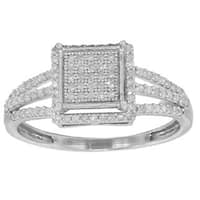 Sterling Silver 1/3ct TDW Micropave Diamond Promise Ring