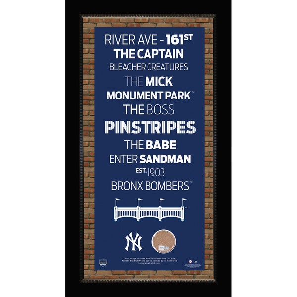 New York Yankees Subway Sign w/ Game Used Dirt -Small Version Framed  7331 Style (Brick Background)