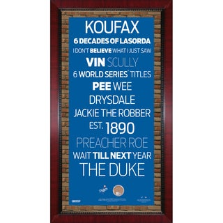 Los Angeles Dodgers Subway Sign Wall Art 16x32 Frame w/ Authentic Dirt from Dodger Stadium.