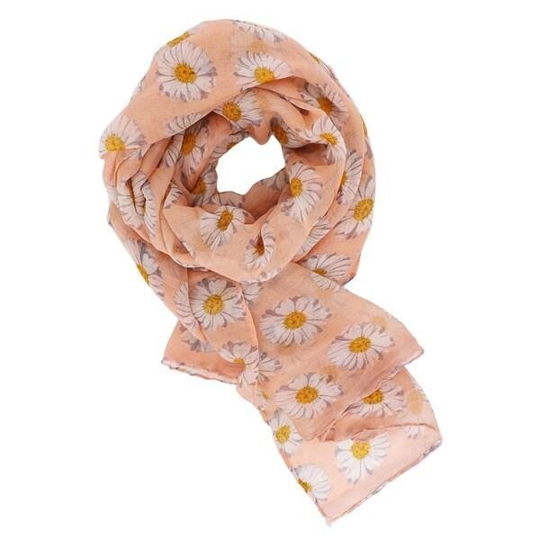 Ladies Womens Daisy Flower Print Scarf Pink Beige Blue Daisies Pretty Scarf Gift