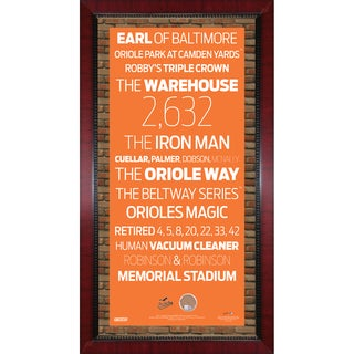 Baltimore Orioles Subway Sign Wall Art 16x32 Frame w/ Authentic Dirt from Oriole Park at Camden Yards