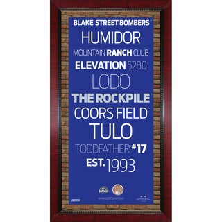 Colorado Rockies Subway Sign Wall Art 16x32 Frame w/ Authentic Dirt from Coors Field.