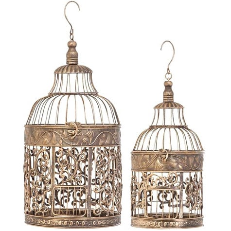 The Curated Nomad Lotta Metal Decorative Bird Cage Set Of 2