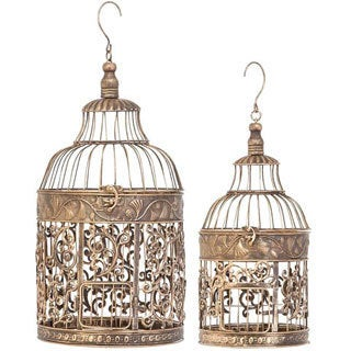 The Curated Nomad Lotta Metal Decorative Bird Cage (Set of 2)