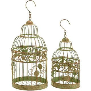 Antique Polish Metal Bird Cage (Set of 2)