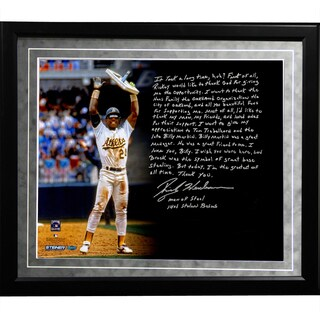 Rickey Henderson Facsimile 'Stolen Base Record' Framed Metallic 16x20 Story Photo