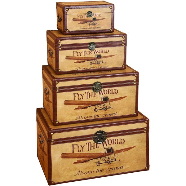 Decorative Wood Storage Trunk (Set Of 4)
