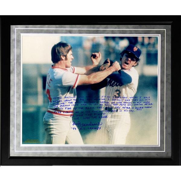 Bud Harrelson Facsimile 'Fighting Rose' Framed Metallic 16x20 Story Photo