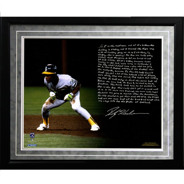 Rickey Henderson Facsimile 'World Series Earthquake' Framed Metallic 16x20 Story Photo