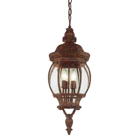 Cambridge 4-Light Rust 32 in. Outdoor Hanging Lantern with Beveled Glass