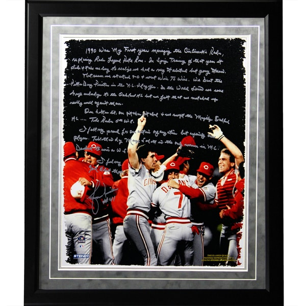 Lou Piniella Facsimile 'Reds World Series' Framed Metallic 16x20 Story Photo