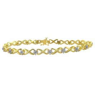 Divina Yellow-plated Brass 1/10ct TDW Diamond Bracelet (H-I, I2-I3)