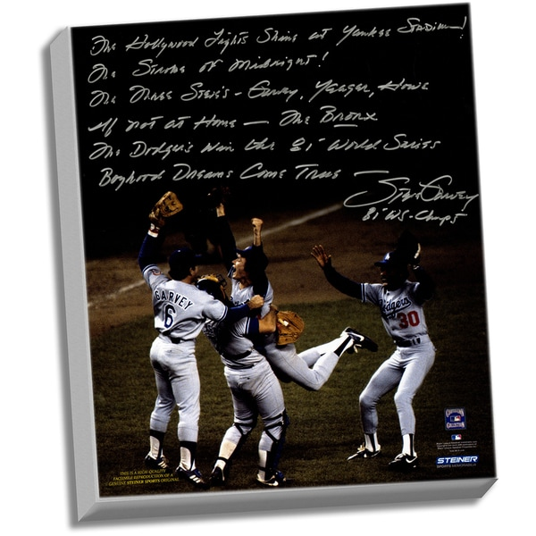 Steve Garvey Facsimile '81 WS Celebration' Stretched 22x26 Story Canvas