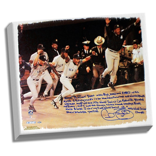 Cecil Fielder Facsimile '1996 World Series' Stretched 22x26 Story Canvas