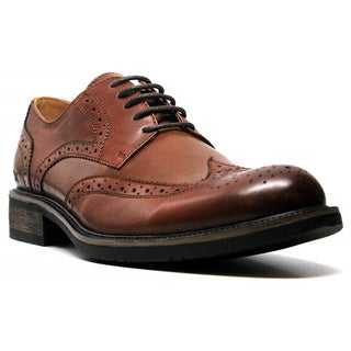 X-Ray Men's 'Beford' Cognac Distressed Leather Wingtip Oxford Shoes