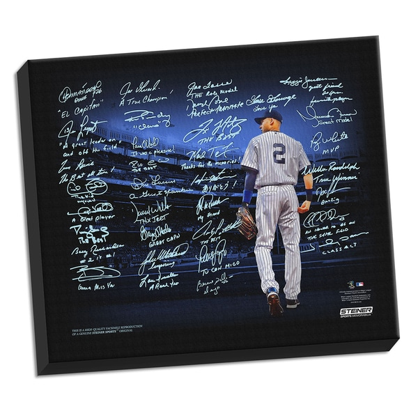 Derek Jeter Facsimile Tribute Piece 22x26 Stretched Canvas