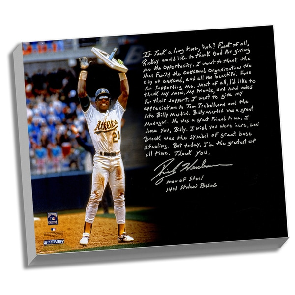 Rickey Henderson Facsimile 'Stolen Base Record' Stretched 22x26 Story Canvas