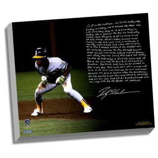Rickey Henderson Facsimile 'World Series Earthquake' Stretched 22x26 Story Canvas