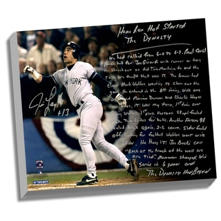 Jim Leyritz Facsimile 'Dynasty Home Run' Stretched 22x26 Story Canvas