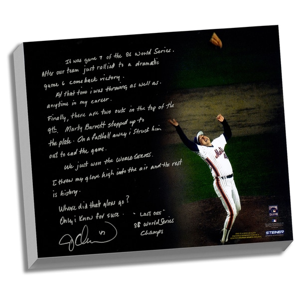 Jesse Orosco Facsimile '1986 World Series Last Out' Stretched 22x26 Story Canvas