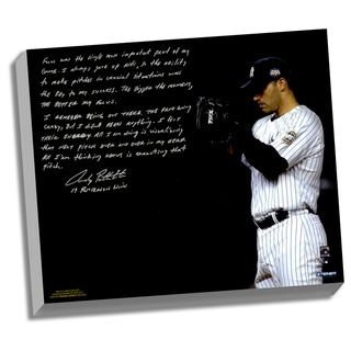 Andy Pettitte Facsimile 'Postseason Focus' Stretched 22x26 Story Canvas