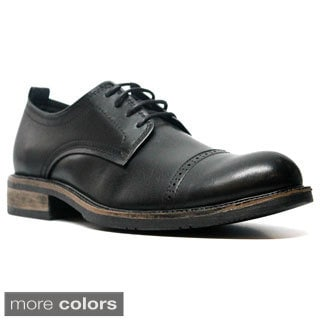 X-Ray Men's 'Green' Leather Cap Toe Oxford Shoes