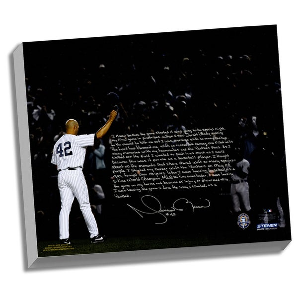 Mariano Rivera Facsimile 'Last Game in Pinstripes' Stretched 22x26 Story Canvas