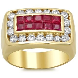 14k Yellow Gold Men's 1 3/4 ct TDW Diamond Ring and 1 5/8 ct Ruby Ring (F-G, VS1-VS2)
