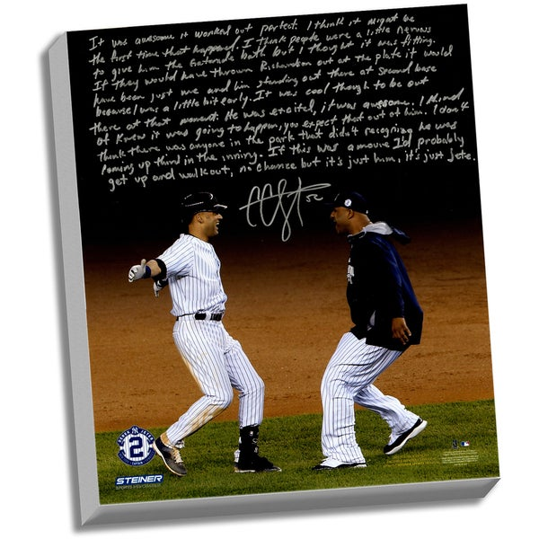 CC Sabathia Facsimile 'Jeter's Yankee Farewell' Stretched 22x26 Story Canvas