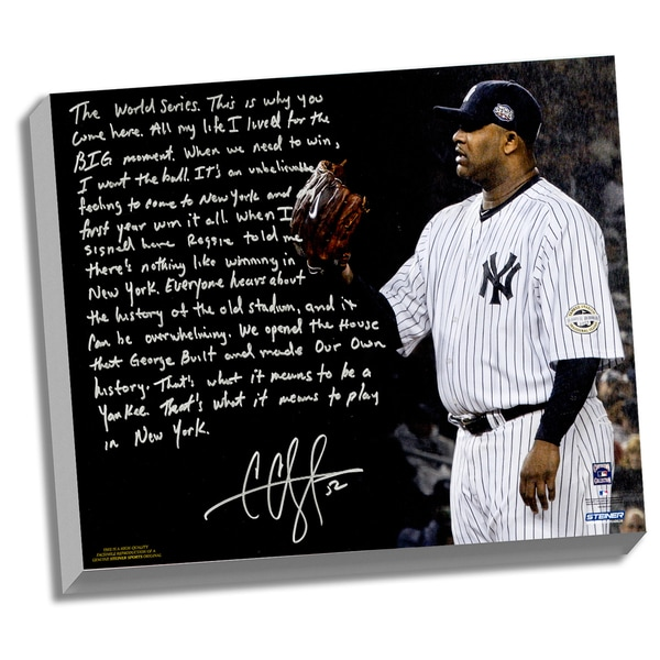 CC Sabathia Facsimile 'Winning in New York' Stretched 22x26 Story Canvas